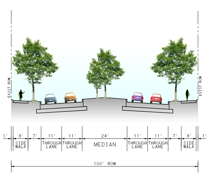 Cross section rendering of W Gulf Bank with sidewalks and landscaping on either side and a landscaped median