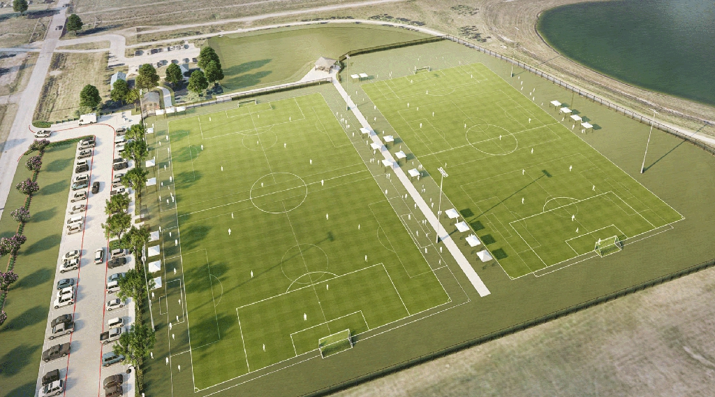 Aerial rendering of Blue Ridge Park Soccer Field