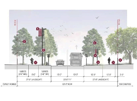 Cross section rendering of Cleburne without turn lane with landscaping and sidewalks on both sides