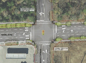 Full size aerial rendering of Tidwell & John Ralston intersection showing additional lanes and turn lanes.
