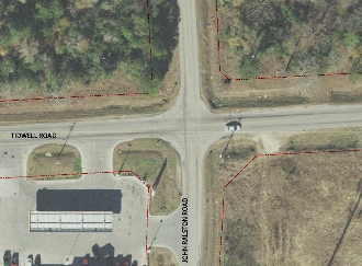 Full size aerial view of current Tidwell & John Ralston intersection