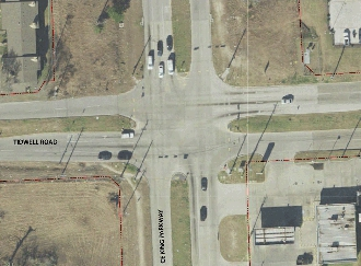 Full size aerial view of current Tidwell & CE King Pkwy intersection