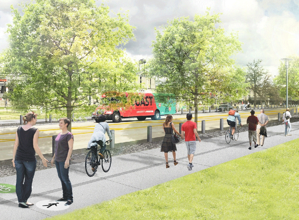 Full size rendering of Cullen Blvd on UH Campus with wide sidewalks to accommodate bikes and pedestrians