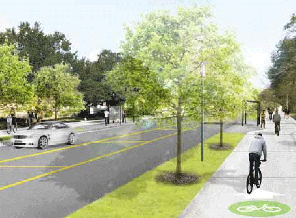 Rendering of Cullen Blvd with wide sidewalks to accommodate bikes and pedestrians