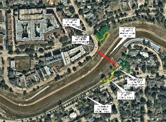Full size aerial view of Brays Bayou with overlay showing bridge, access ramp, and sidewalk extensions