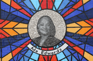 Ada Edwards in the Sacred Struggles/Vibrant Justice mural